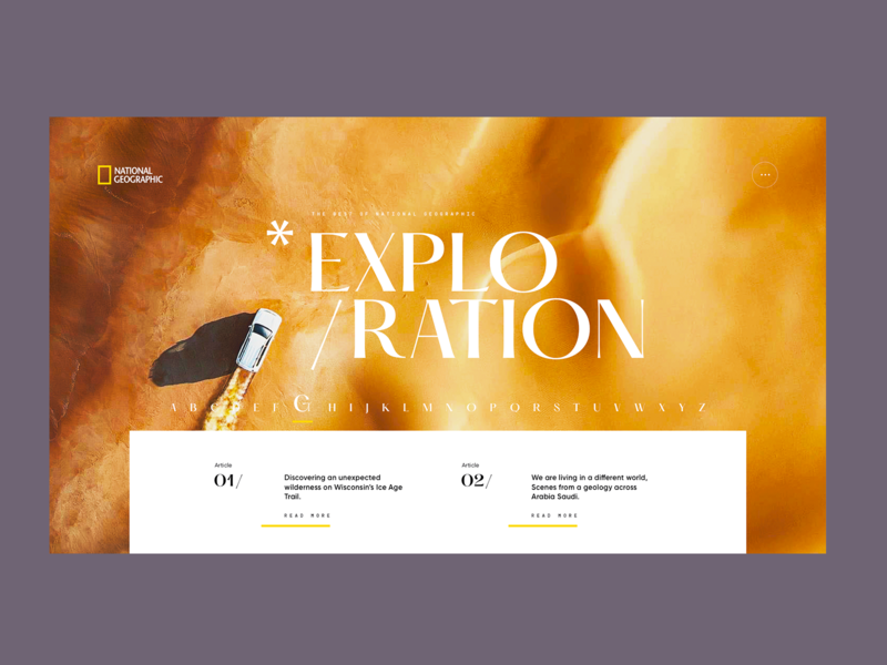National Geographic - Visual Exploration A.02 geographic layout interaction web design desktop concept ui