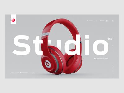 Beats Headphones web design concept screen ux ui desktop apple sound beats