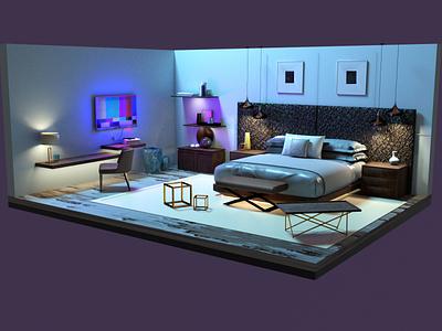 3D Bedroom Interior interior design arnold substancepainter 3d