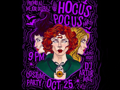 Hocus Pocus Party invitation poster halloween flyer witch illustration halloween party