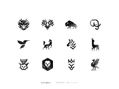 ANIMALS: logos, symbols & monograms collection illustrator collection animals monogram symbol texture handcrafted handcraft handmade natural 99designs vector logomark logo design mark branding design brand graphic  design logo