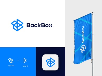 BackBox®️ flat blue monogram designs concept letter b symbols box simple symbol logo design minimal app icon logomark ux ui illustration brand logo