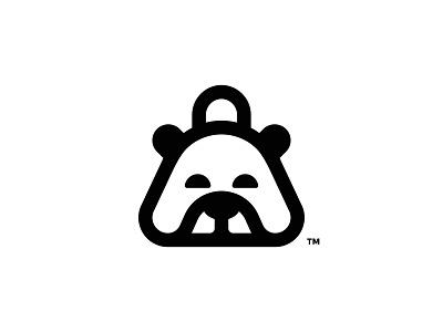 BearBag concept monogram monoline animal minimalism dark concept simple bag bear minimal illustration logomark icon symbol ux ui graphic  design design brand logo