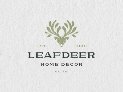 Leafdeer®️ Brand identity concept logo designs simple organic minimal nature leaf deer head animal deer logo design branding illustration logomark typography ux vector ui brand logo