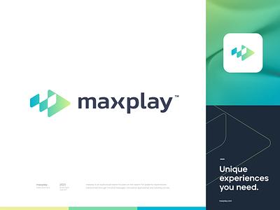 maxplay™ monogram minimal logomark simple gradient visual tech symbol concept vector illustration mark logo design branding brand logo