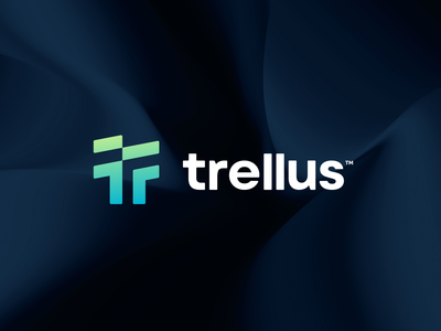 trellus™ gradient green colorful minimalist simple mark logo design startup letter concept symbol minimal icon branding illustration vector logomark brand logo