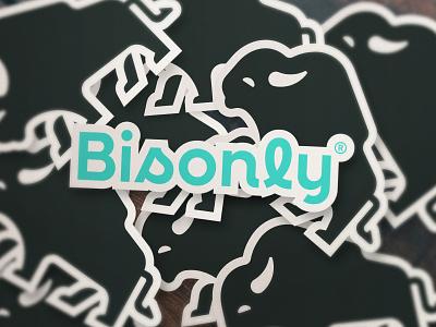 Bisonly® simple minimal concept logotype typography startup icon symbol animal bison nature logo brand mark branding logo design logomark illustration logo
