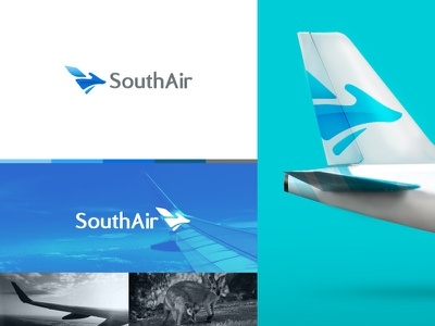 South Air kangaroo plane design airplane typography luxury design animal design logo design vector logomark branding brand 99designs mark logo design graphic  design animal airline design airline logo airlines