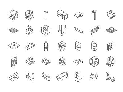 Beaumont Tiles Custom Icon Set illustration isometric website retail custom digital icons ux ui