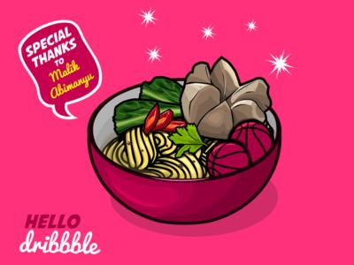 Hello Dribbble!! illustration food vector art noodle meatball bakso inkscape vector food