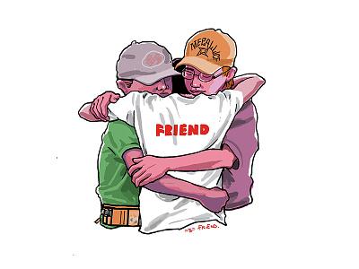 3 Friends portrait graphy character illustration