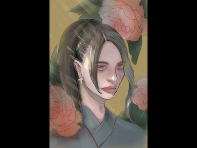 Daily portrait drawing #2 pessimism illustrator digital art graphy character procreate ipad oc flowers illustration portrait drawing portrait