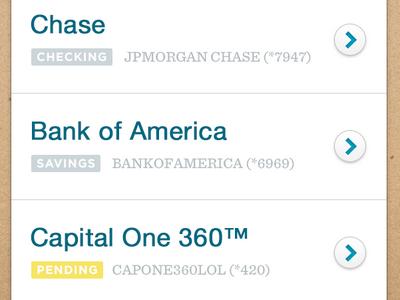 Linked Accounts simple bank list iphone ios