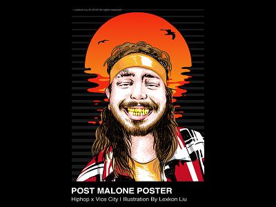 Post Malone typography poster art rapper vector 平面设计 品牌化 street illustration adobe illustrator draw