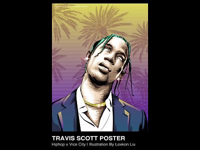 Travis Scott rap 品牌化 vector rapper poster art 平面设计 street illustration adobe illustrator draw