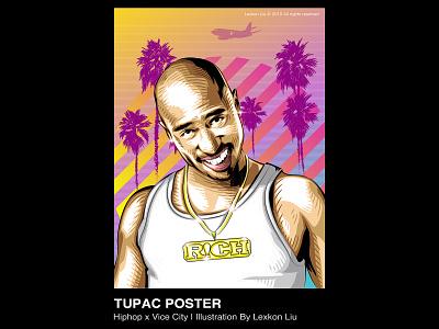 Tupac Amaru Shakur vector poster art rapper 平面设计 品牌化 street illustration adobe illustrator draw tupac