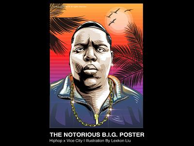 The Notorious B.I.G. vector rap hiphop rapper poster art 平面设计 品牌化 street illustration adobe illustrator draw