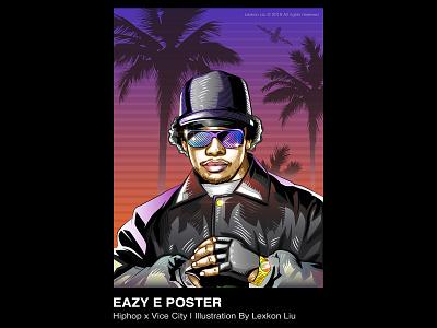 Eazy-E poster art 平面设计 hiphop rapper vector 品牌化 street illustration adobe illustrator draw