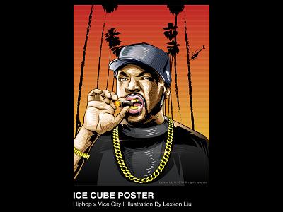 Ice Cube poster art rap hiphop vector 平面设计 rapper 品牌化 street illustration adobe illustrator draw