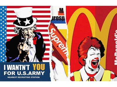 McDonald's x Uncle Sam x Supreme typography poster art vector 平面设计 品牌化 street illustration adobe illustrator draw