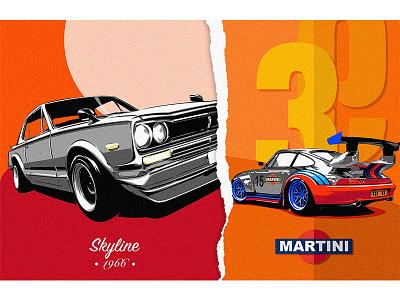 GTR x Porsche 911 vector 平面设计 品牌化 street car poster art illustration adobe illustrator draw