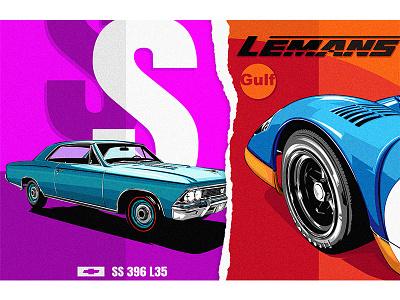 Chevrolet x Porsche car poster art vector 平面设计 品牌化 street illustration adobe illustrator draw