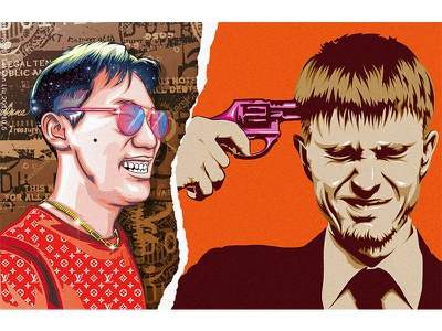 Happy and sad 人物设计 poster art vector 平面设计 品牌化 street illustration adobe illustrator draw