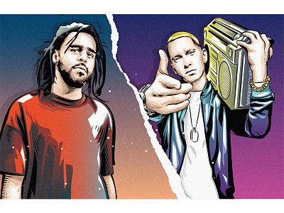 J.Cole x Eminem rap hiphop rapper poster art vector 平面设计 品牌化 street illustration adobe illustrator draw