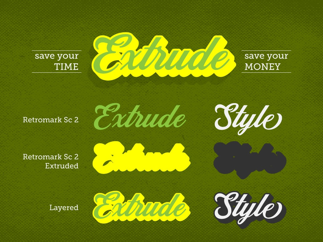 Retromark Script Vol 2 script typography logo typeface font awesome extruded commercial fonts lettering font