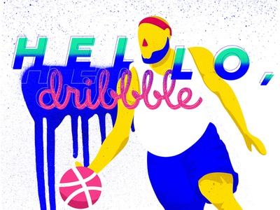 Hello, Dribble typography sports flat colors lebron basketball hello dribbble grunge vector adobe illustrator photoshop ipadpro procreateapp debut design illustration