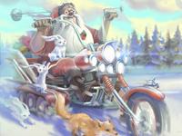 Santa on the motorbike