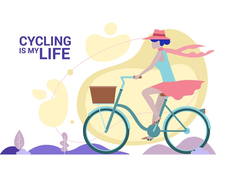 Woman enjoying cycling. Lifestyle vector concept. fitness fit female exercise eco-friendly drawing cyclist cycling is my life cycling countryside concept commute cartoon bike bicycling bicycle art adventure activity active