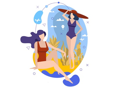 Two women in bathing suits on a tropical beach.