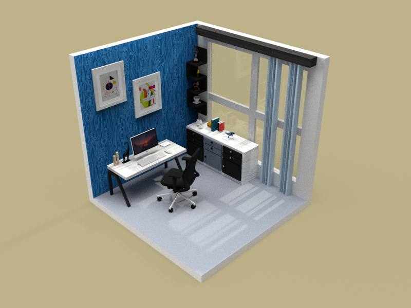 Home workspace concept | 3D colorful colors workstation workspace workfromhome modeling 3d architecture texturing lighting adobe dimension architechture 3d art 3d