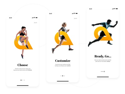 On-boarding screens - Fitness app for athletes