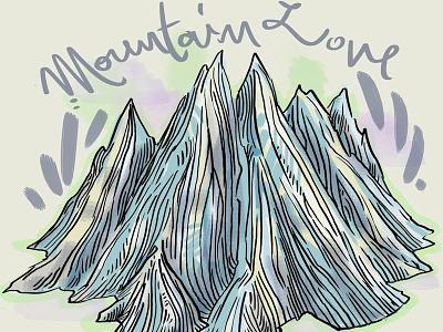 Mountain Love doodle photoshop mountains line art