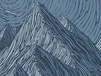 Antarctic cornice mountains woodcut