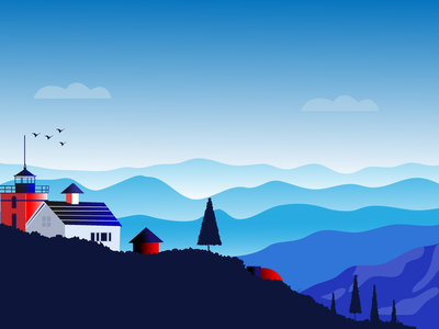 Mountain House fine art painting design illustrator ui  ux art illustration