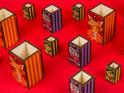 2018 Promo Boxes product design plywood laser cut uv printing illustration geometric print design graphic design goals design ps design
