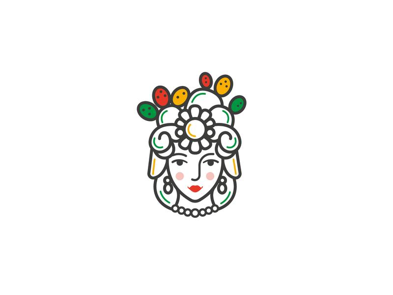 CasaCammileddi logo yellow green branding design illuatration colors sicily woman head identity branding