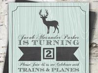 Rustic Deer Boy Birthday Party Invitation