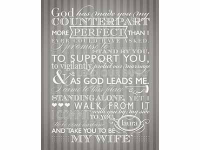 His Vows graphic design typography wedding vows gift poster