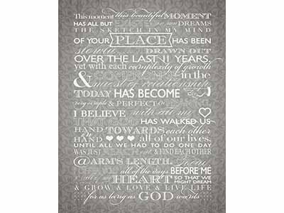 Her Vows graphic design typography wedding vows gift poster