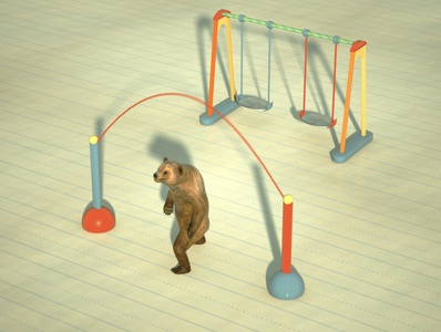 Bear workout theme -  jump rope  illustration animator motion design jump rope workout bear animation octane render advertisement 3d visualization art direction cinema 4d