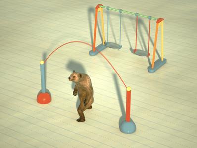 Bear workout theme -jump rope illustration animator motion design jump rope workout bear animation octane render advertisement 3d visualization art direction cinema 4d