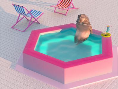 Quarantine hippo in pool animal design animation rendering octane render illustration 3d art 3d visualization art direction cinema 4d quarantine life pool hippo