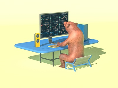 Bear in Bear Market 3d animation bear market animation trading stock market crypto