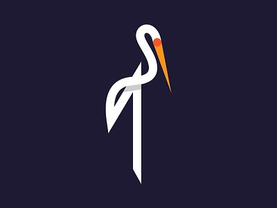 Stork logo mark symbol bird stork