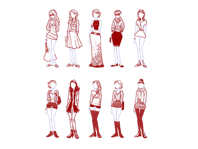 Girls001a girls fashion concept sketch women clothes