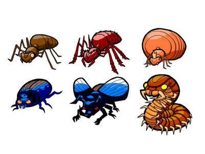 Insect Mobs illustration ants insects enemies assets game